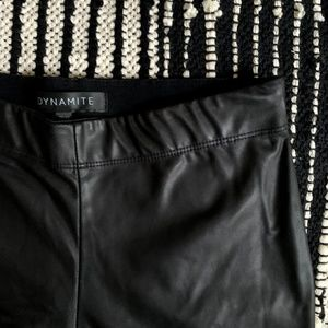 Dynamite || Stretchy Black Vegan Leather Leggings